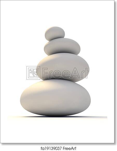 Free Art Print Of White Zen Stones A Pile Of Four Satin Smooth