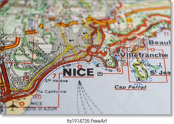 Free Art Print Of Nice France Map Closeup Of City Of Nice France