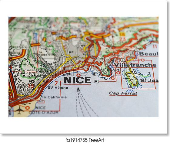 Free Art Print Of Nice France Map Closeup Of City Of Nice France