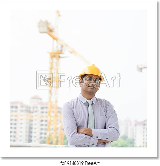 ad74f5c8d8b Free art print of Asian Indian male contractor. Portrait of a ...