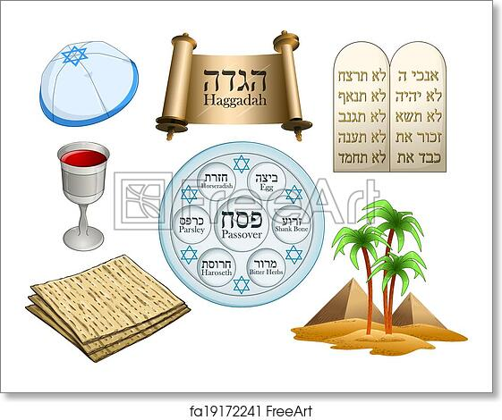 Free Art Print Of Passover Symbols Pack Vector Illustration Of