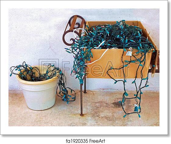 Free Art Print Of Tangled Christmas Lights Tangled Disorganized Christmas Lights Spilling From A Cardboard Box Freeart Fa1920335