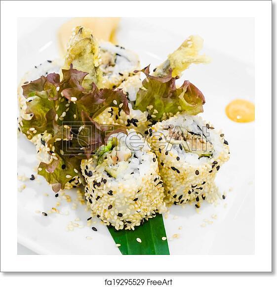 Free art print of Sesame sushi