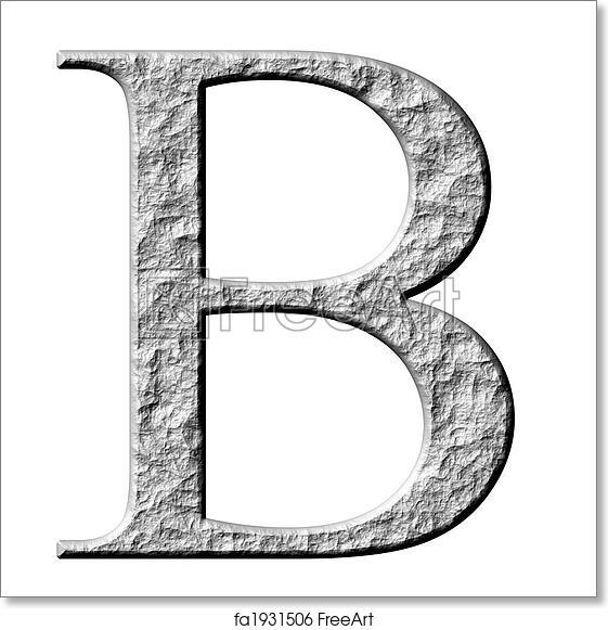 Free art print of 3D Stone Greek Letter Beta. 3d stone Greek letter Beta isolated in white | FreeArt | fa1931506