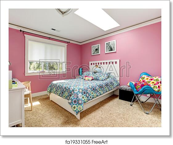 Free art print of Beautiful pink bedroom for girls