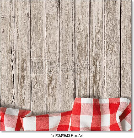 Beau Free Art Print Of Old Wooden Table With Red Picnic Tablecloth Background