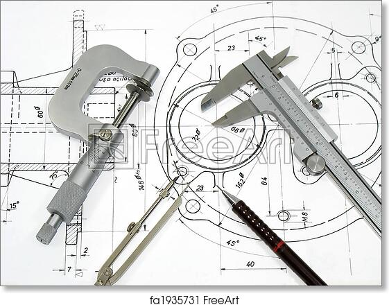 Free art print of Engineering tools on technical drawing | FreeArt ...