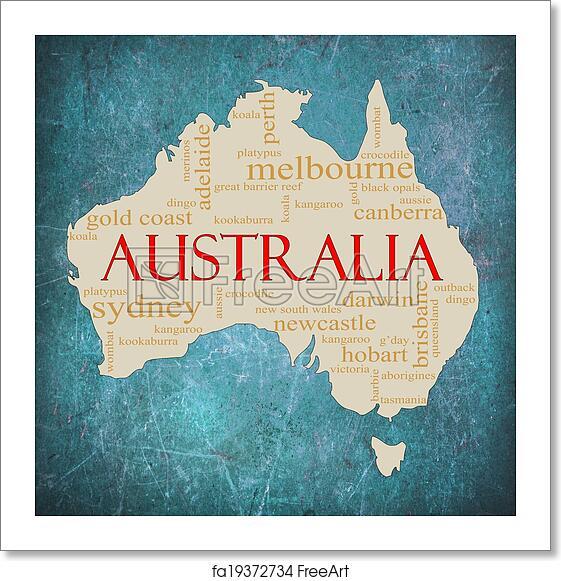 Australia Word Map.Free Art Print Of Blue Grunge Australia Word Cloud