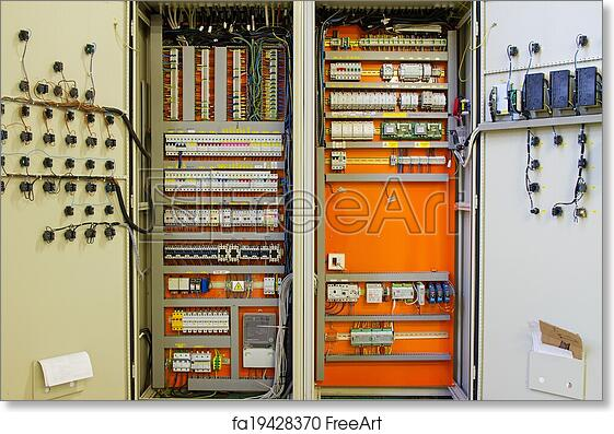 art print of electricity distribution box wires and art print of electricity distribution box wires and circuit breakers fuse box art fa19428370
