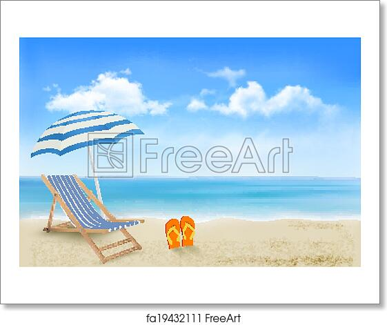 Free art print of Seaside view with an umbrella, beach chair and a pair of  flip-flops. Summer vacation concept background. Vector.