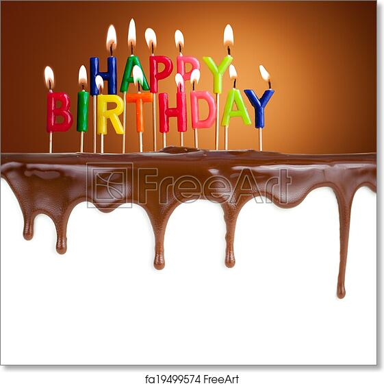 Free Art Print Of Happy Birthday Lit Candles On Chocolate Cake Template