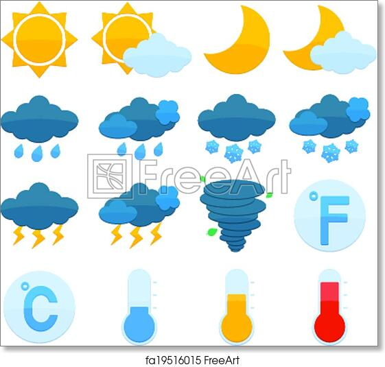 image relating to Printable Weather Forecast known as Absolutely free artwork print of Climate Predict Icons Fastened