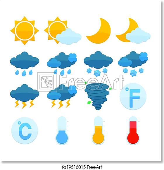 Free Art Print Of Weather Forecast Icons Set Weather Forecast