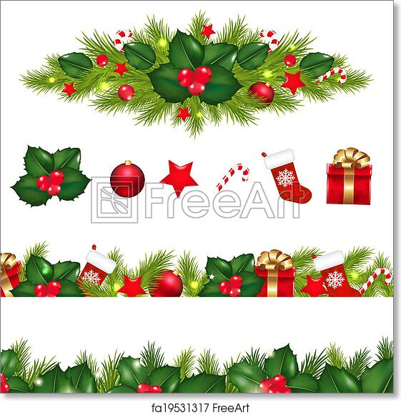image relating to Free Printable Christmas Borders identified as Cost-free artwork print of Xmas Borders Mounted With Christmas Garland