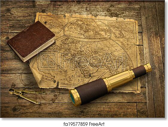 Free Art Print Of Old World Map With Telescope