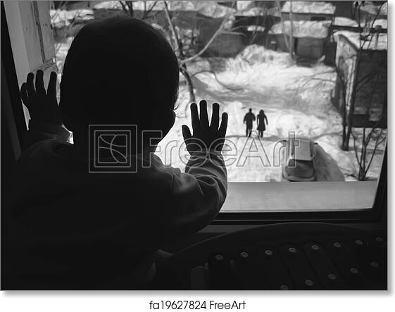 Free Art Print Of Black And White Photo Small Child Looking Out The Window Freeart Fa19627824