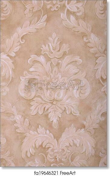 Free art print of Vintage beige wallpaper background. Vintage wallpaper background with beige run-down vignette victorian pattern, vertical image   FreeArt ...