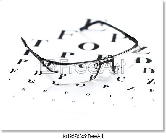 Free Art Print Of Eye Exam Reading Glasses With Eye Chart Freeart