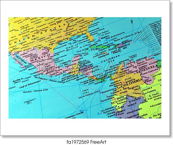 Free art print of Central America and Caribbean map. Countries in ...