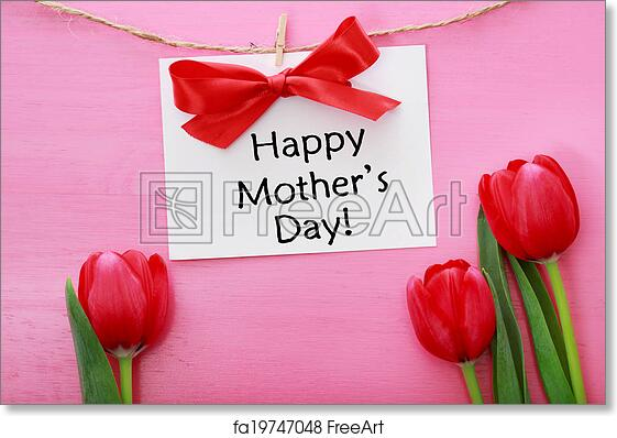 free art print of mothers day card with red tulips mothers day card