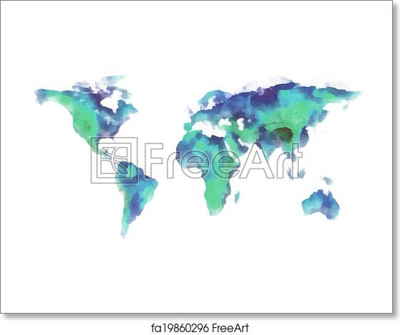 Free art print of world map watercolor painting blue and green free art print of world map watercolor painting gumiabroncs Choice Image