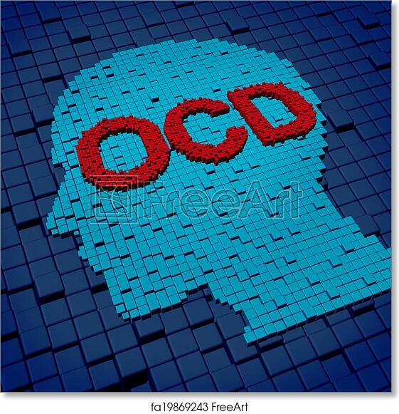 e73914a9f69 Free art print of Obsessive Compulsive Disorder. Obsessive compulsive  disorder or OCD medical concept as a human head and letters made of  organized three ...