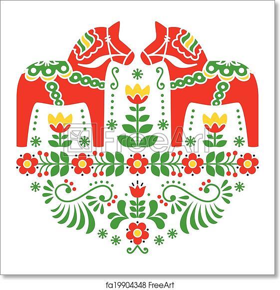 Free Art Print Of Swedish Dala Horse Pattern Traditional