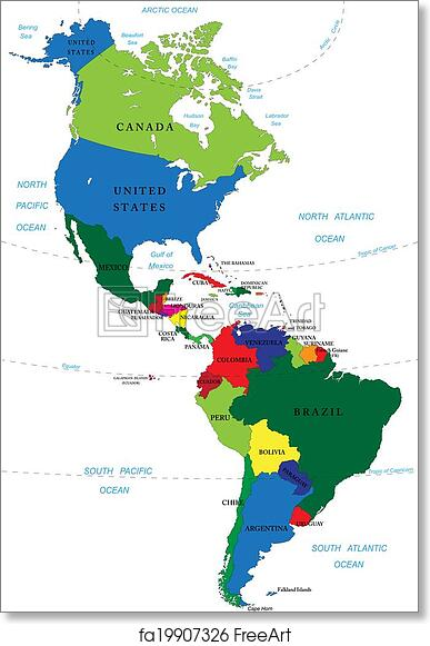 photograph about Printable Map of South America called Absolutely free artwork print of North and South The usa map