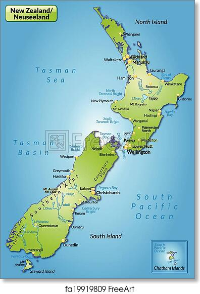 photo about New Zealand Map Printable identified as Free of charge artwork print of Map of contemporary zealand