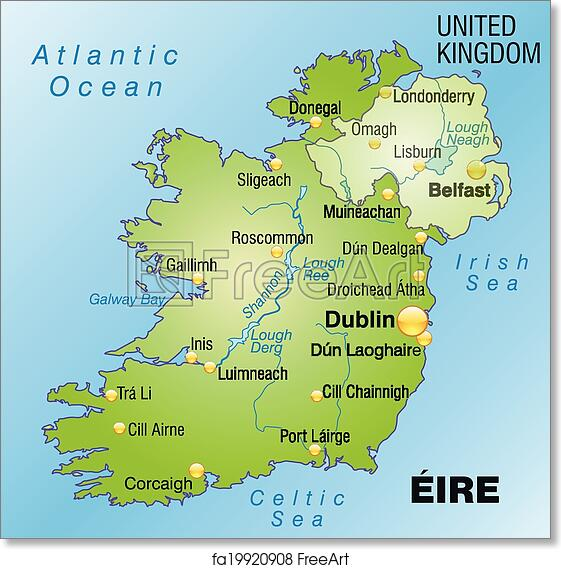 image regarding Map of Ireland Printable named Absolutely free artwork print of Map of Eire