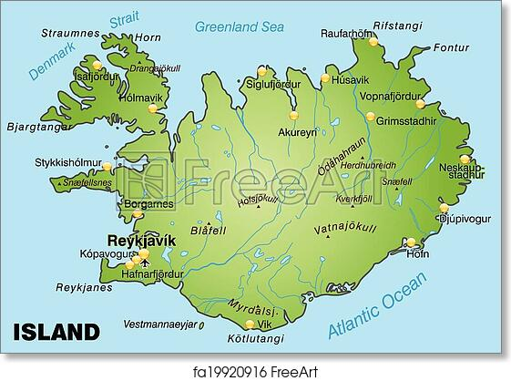 image relating to Iceland Map Printable called Free of charge artwork print of Map of Iceland