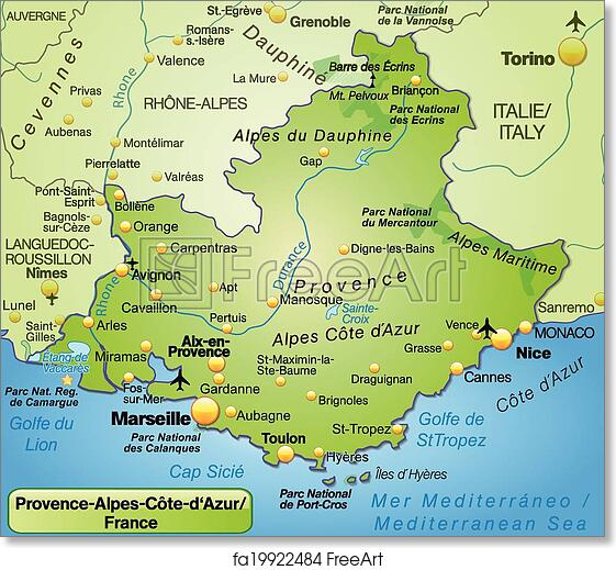 Provence Map Of France.Free Art Print Of Map Of Provence Alpes Cote D Azur Map Of Provence