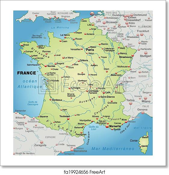 Map Of France To Print.Free Art Print Of Map Of France