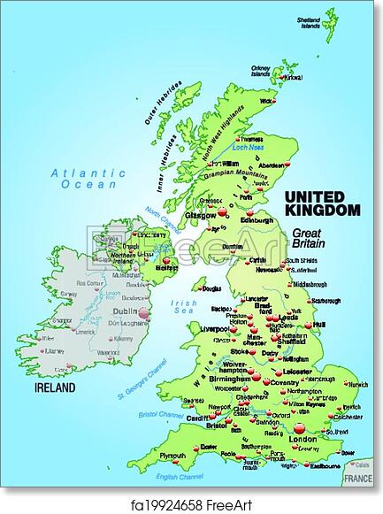 image about Printable Maps of England named No cost artwork print of Map of England