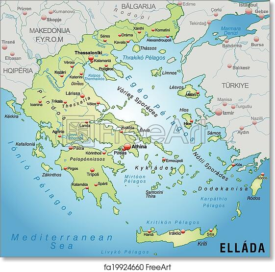 image about Printable Map of Greece named Absolutely free artwork print of Map of Greece