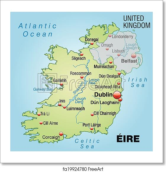 Print Map Of Ireland.Free Art Print Of Map Of Ireland