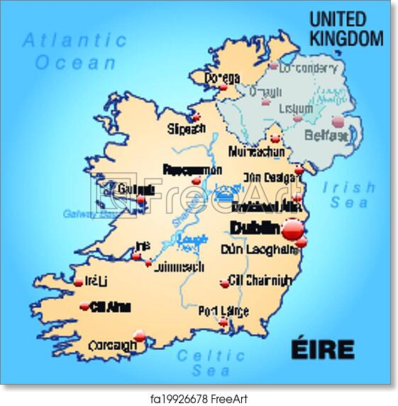 image regarding Map of Ireland Printable known as Cost-free artwork print of Map of Eire