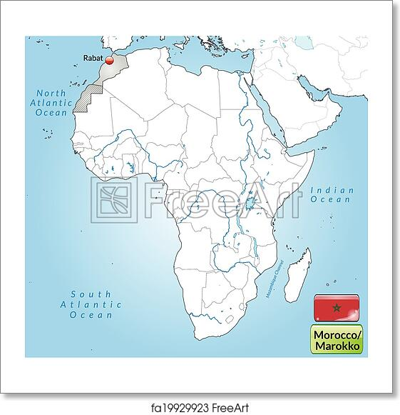 Free art print of Map of Morocco. Map of Morocco with main cities in ...