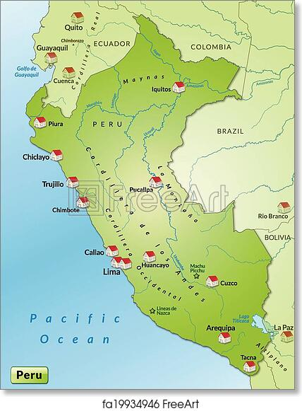 photograph regarding Printable Map of Peru titled Totally free artwork print of Map of Peru