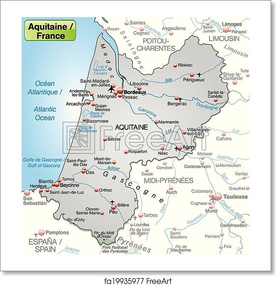 Free Art Print Of Map Of Aquitaine Map Of Aquitaine As An Overview