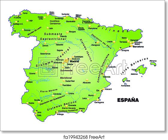 Map Of Spain To Print.Free Art Print Of Map Of Spain