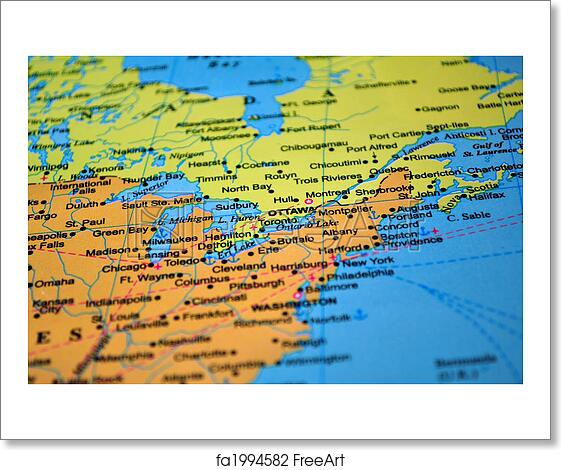 Free art print of North America: map of Canada and the United States.