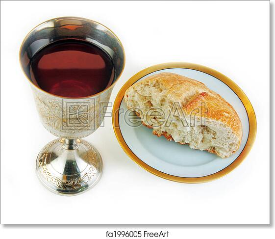 Free Art Print Of Communion Bread And Wine On White Background