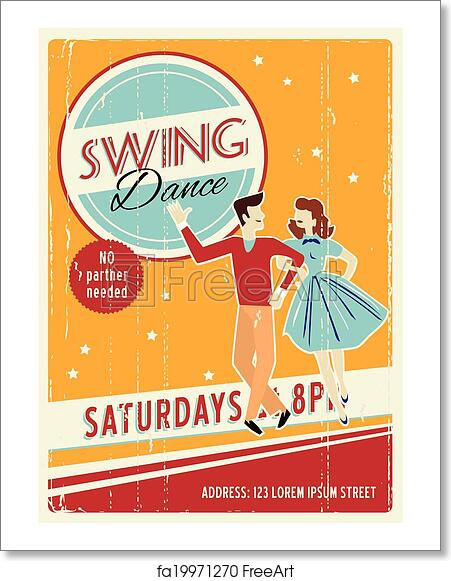 free art print of retro party invitation vector retro dancing