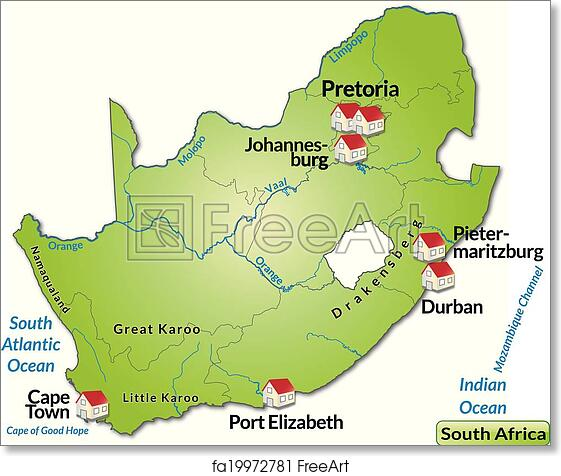 Free Art Print Of Map Of South Africa Map Of South Africa As An