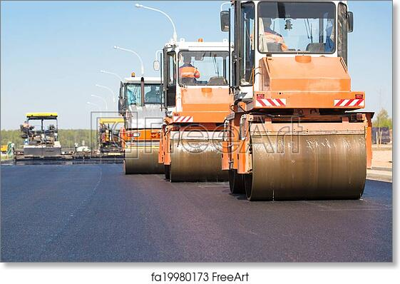 pneumatic steam road rollers machines compacting fresh asphalt during highway construction works on tracked paver equipment background freeart