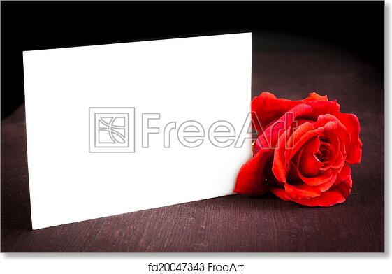 Free Art Print Of Red Rose And Blank Gift Card For Text On Old Wood