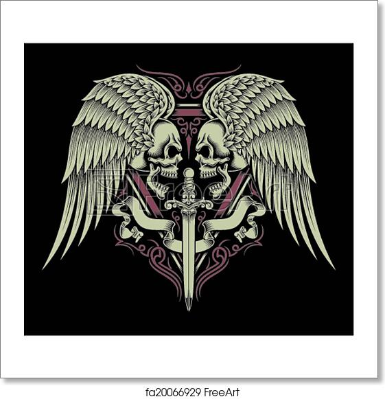 Free Art Print Of Two Faced Skull With Wings Sword Fully Editable