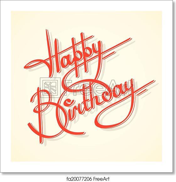 Free Art Print Of Calligraphy Happy Birthday. Calligraphy