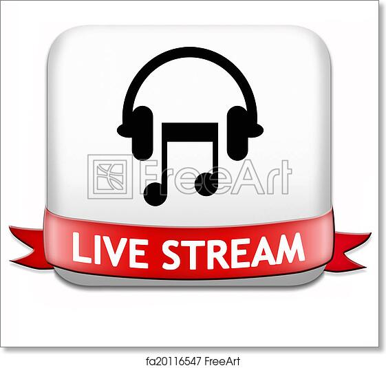 Free art print of Music live stream button